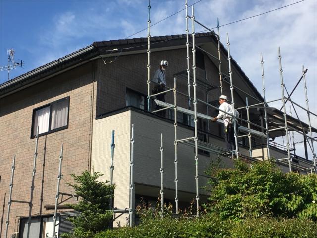 茨城町 塗り替え工事 足場架設中