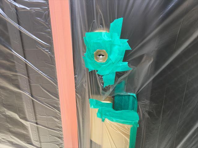 玄関ドア養生 施錠部分