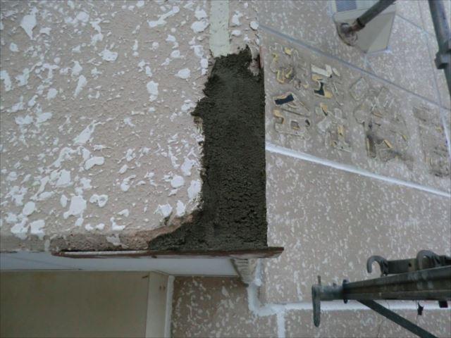 ALC材外壁のモルタル補修