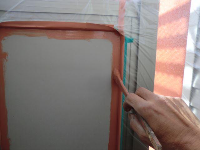 ベランダ内側パネル塗装、クリーンマイルドシリコン