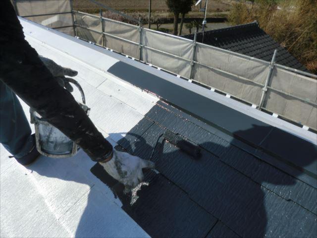 屋根着色1回目、ダイヤスーパーセランマイルドIR