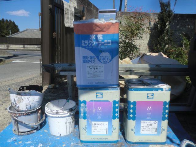 使用材料、水性Мコートシリコン、水性ミラクシーラーエコクリヤー