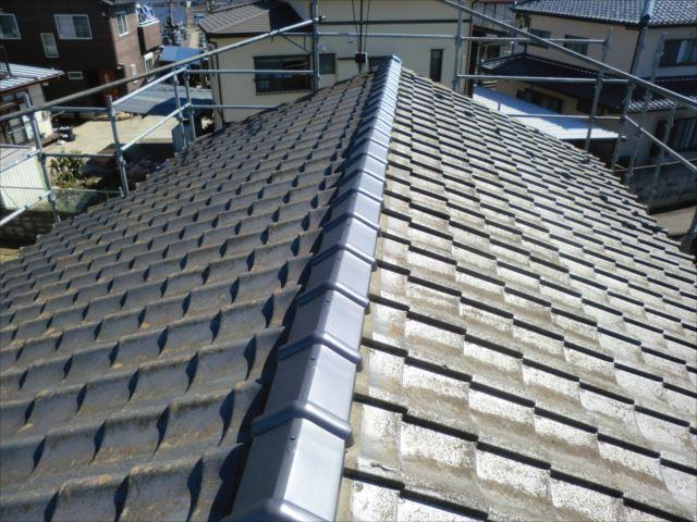 屋根瓦高圧洗浄前