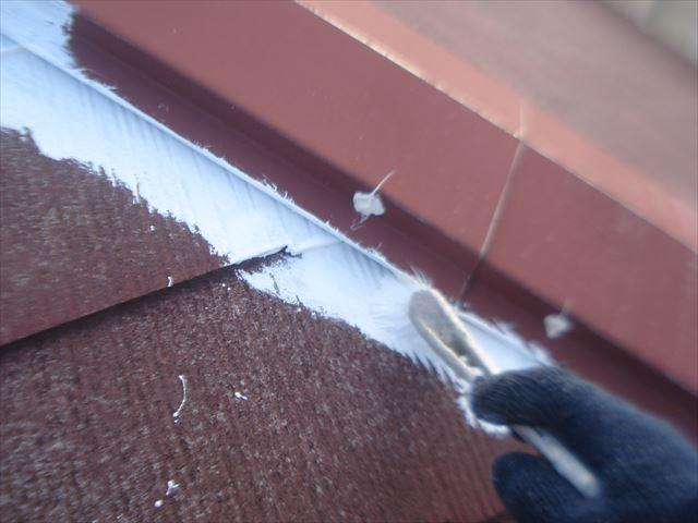 F邸屋根下塗り