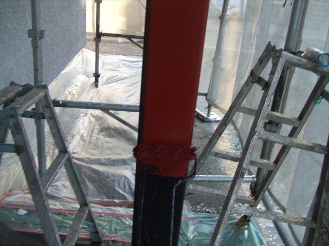 玄関ポーチ柱錆止め塗装