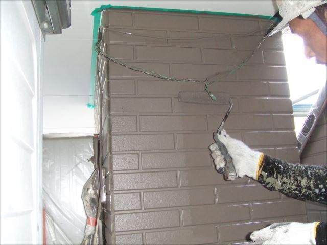 駐車場柱型サイディング仕上げ塗装ダイヤスーパーセランマイルド無機塗料