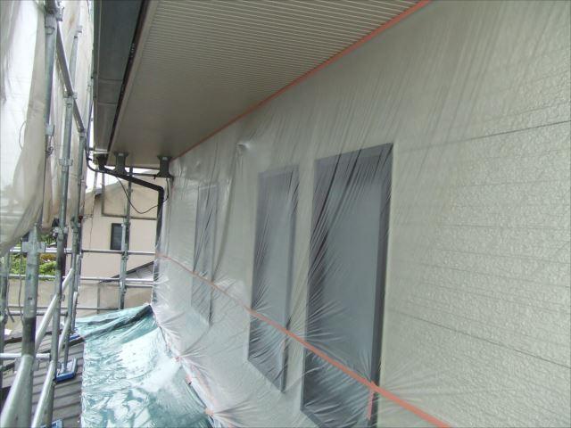 2階外壁ビニール養生