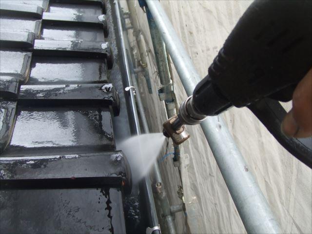 雨樋内側、洗浄