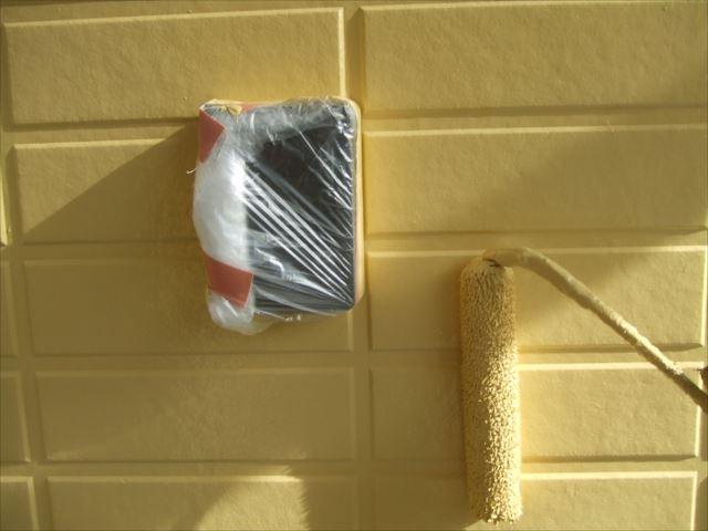 サイディング外壁玄関周り塗装、ダイヤスーパーセランマイルド