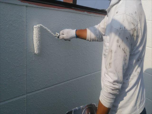 屋上ベランダ袖壁着色2回目仕上げ塗装セラミクリーン