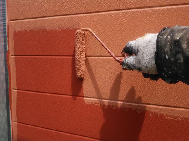 ベランダ外側袖壁塗装