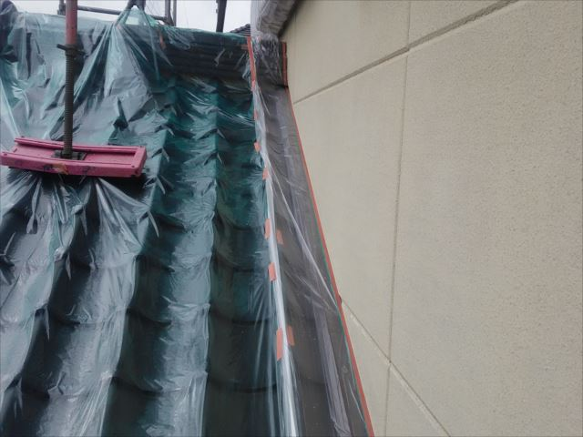屋根のビニール養生