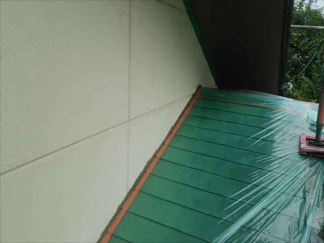 銅板屋根ビニール養生