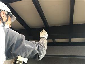 オイルステイン、玄関木部周り塗装