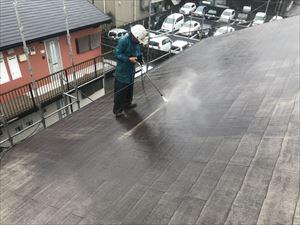 屋根 洗浄作業